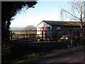 SO1528 : Farm entrance and barn near Llangors by Gareth James