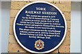 SE5951 : Blue Plaque, York Station by N Chadwick