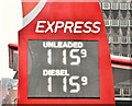 J3373 : Fuel prices sign, Belfast (6 January 2017) by Albert Bridge