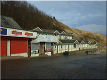 TA1280 : Cafe and beach huts, Coble Landing, Filey by JThomas