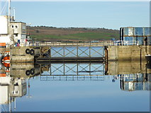 SW4730 : Penzance Harbour lock gates by Rod Allday
