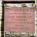 SD8801 : Memorial stone to James Kershaw by Gerald England