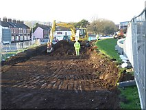 SX9192 : Expansion of Exeter Flood Relief Scheme: foundations by Okehampton Street by David Smith