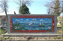 TQ2804 : Mosaic panel, St Andrew's Church churchyard, Hove by Julian Osley