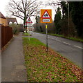 SO8013 : Warning signs facing School Lane, Quedgeley by Jaggery