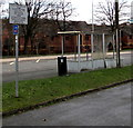 SO0990 : Damaged bus shelter, Llanidloes Road, Newtown by Jaggery