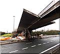 ST5689 : Footbridge over the M48 motorway tollbooths, Aust by Jaggery