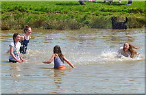 ST8083 : Youngsters having fun in Lake, Badminton Horse Trials, Gloucestershire 2016 by Ray Bird
