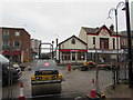 SJ2473 : Temporary fencing in Flint town centre by Jaggery