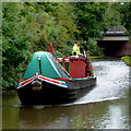 SK2102 : Working narrowboat east of Fazeley in Staffordshire by Roger  Kidd