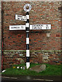 NY3259 : Signpost in Burgh-by-Sands by Anne Burgess