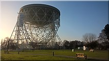 SJ7971 : The Lovell Telescope parked for maintenance.  Jodrell Bank Observatory by Benjamin Shaw