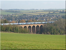 TQ5365 : Southeastern train on Eynsford Viaduct as seen from The Darent Valley Path by Marathon