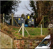 SO5923 : Electricity substation above a Ross-on-Wye corner by Jaggery