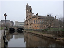 NS4863 : Paisley Town Hall across White Cart Water by Rudi Winter