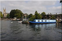 TQ1469 : Narrowboat moored at Hampton by Philip Halling