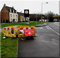SS8181 : Yellow barriers on a North Cornelly corner by Jaggery