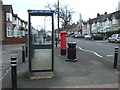 SP3382 : George VI postbox and telephone box on Rotherham Road, Holbrooks by JThomas