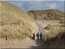 NC3970 : Road through the sand dunes to Faraid Head military installation by Julian Paren