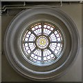 SJ9494 : A window in Hyde Town Hall by Gerald England