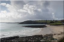 SW8031 : Looking across Gyllyngvase Beach, Falmouth, Cornwall by Christine Matthews