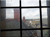 SJ9494 : View through a window in Hyde Town Hall by Gerald England