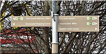 J3674 : Connswater pedestrian direction sign, Newtownards Road, Belfast (March 2017) by Albert Bridge