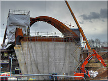 SJ8298 : Ordsall Chord, Construction of New Bridge over the Irwell (Mar 2017) by David Dixon