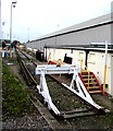 SZ6599 : White buffer stop at the end of the line, Fratton, Portsmouth by Jaggery