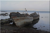 NM5643 : Hulks on the shore near Salen by Malcolm Neal