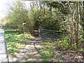 TQ3436 : Footpath crosses farm track to stile by trees by Shazz