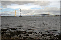 NT1378 : Forth Road Bridge and Queensferry Crossing from Hawes Pier, Queensferry by Mike Pennington