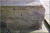 SK9136 : Benchmark on buttress of St Wulfram's Church by Roger Templeman