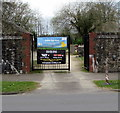 ST3094 : Banners on a Llanyrafon Manor entrance gate, Cwmbran by Jaggery