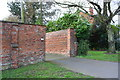 SK9036 : Brick boundary wall of #81A Barrowby Road by Roger Templeman