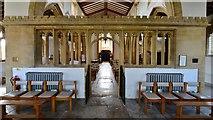 ST6601 : Cerne Abbas, St. Mary's Church: Very rare stone chancel screen by Michael Garlick