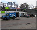 ST2994 : Cwmbran Tyres premises and blue van, Cwmbran by Jaggery