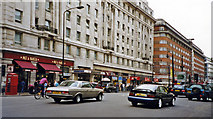 TQ2780 : East on Oxford Street near Marble Arch Underground, 2002 by Ben Brooksbank