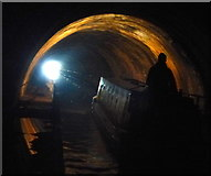 SO9689 : Narrowboat in the Netherton Tunnel by Mat Fascione