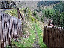 SN7377 : Path leading down from the foot crossing at Tynycastell by John Lucas