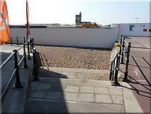 TR3140 : Recently erected hoarding on the beach by John Baker