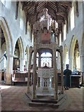 TG2834 : St Botolph, Trunch: font canopy (2) by Basher Eyre