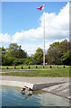 TQ2686 : Geese & Flagpole, Hampstead Heath by Des Blenkinsopp