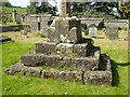 ST7093 : The base of a cross, Tortworth churchyard by Philip Halling