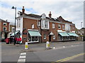 TQ1568 : Creek Road pillarbox, cash dispenser and awnings, East Molesey by Jaggery