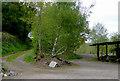 SO8688 : Farm yard and track near Greensforge in Staffordshire by Roger  Kidd