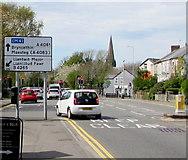 SS9079 : Directions sign facing Cowbridge Road, Bridgend by Jaggery