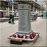 SJ8497 : War Memorial on Platform 10  by Gerald England