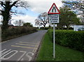 ST2938 : Oncoming vehicles in middle of road warning sign, Chilton Road, Bridgwater by Jaggery