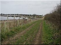TG1440 : Solar farm and footpath by Hugh Venables